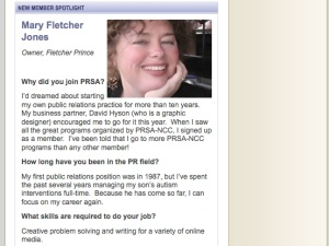 Mary Fletcher Jones in PRSA-NCC's Member Spotlight
