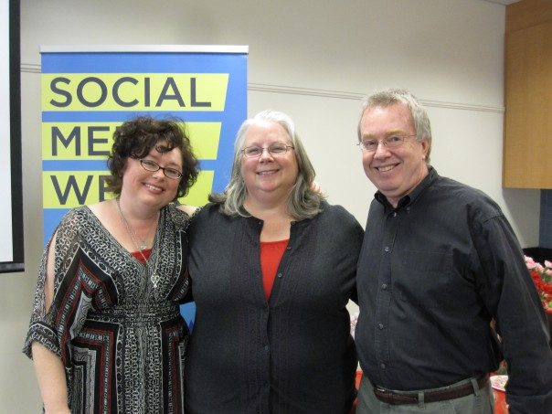 Mary Fletcher Jones, presenter, Social Media Week, DC with Susan Rink, guest speaker, and David Hyson, designer and Fletcher Prince creative director