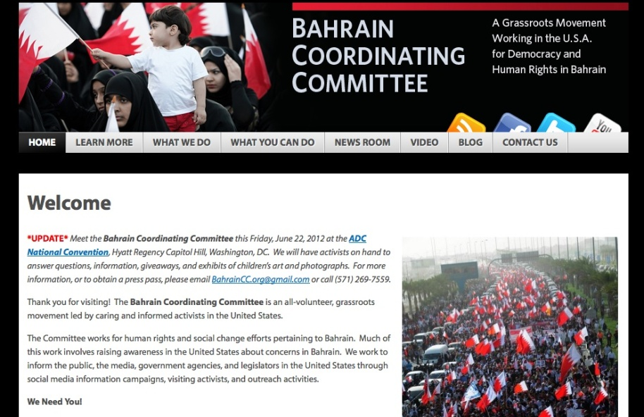 David's design for the website for the Bahrain Coordinating Committee