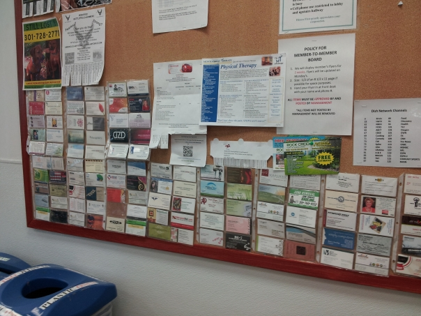 Business cards on bulletin board